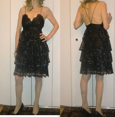 ($128) SEXY and elegant EXPRESS shimmering black cocktail summer dress 4