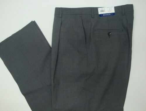 NWT $150 HART SCHAFFNER MARX WOOL MODERN DRESS PANTS PLEATS Grey Check 32 34 NEW