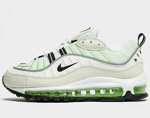 Nike-AIR-MAX-98-Donne-UK-Taglia-8-EU-42-5-SUMMIT-Bianco-ELECTRO-GREEN-NUOVO
