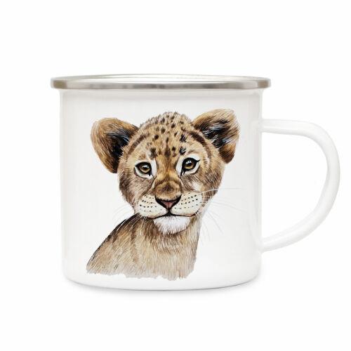 Emaille Tasse Löwe Campingtasse Tier Motiv Löwentasse Becher Emaillebecher eb218