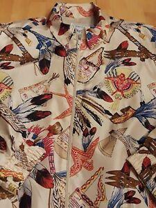 Oleg-Cassini-Womens-Silk-Vintage-Jacket-western-cowboy-print-M-Medium-White