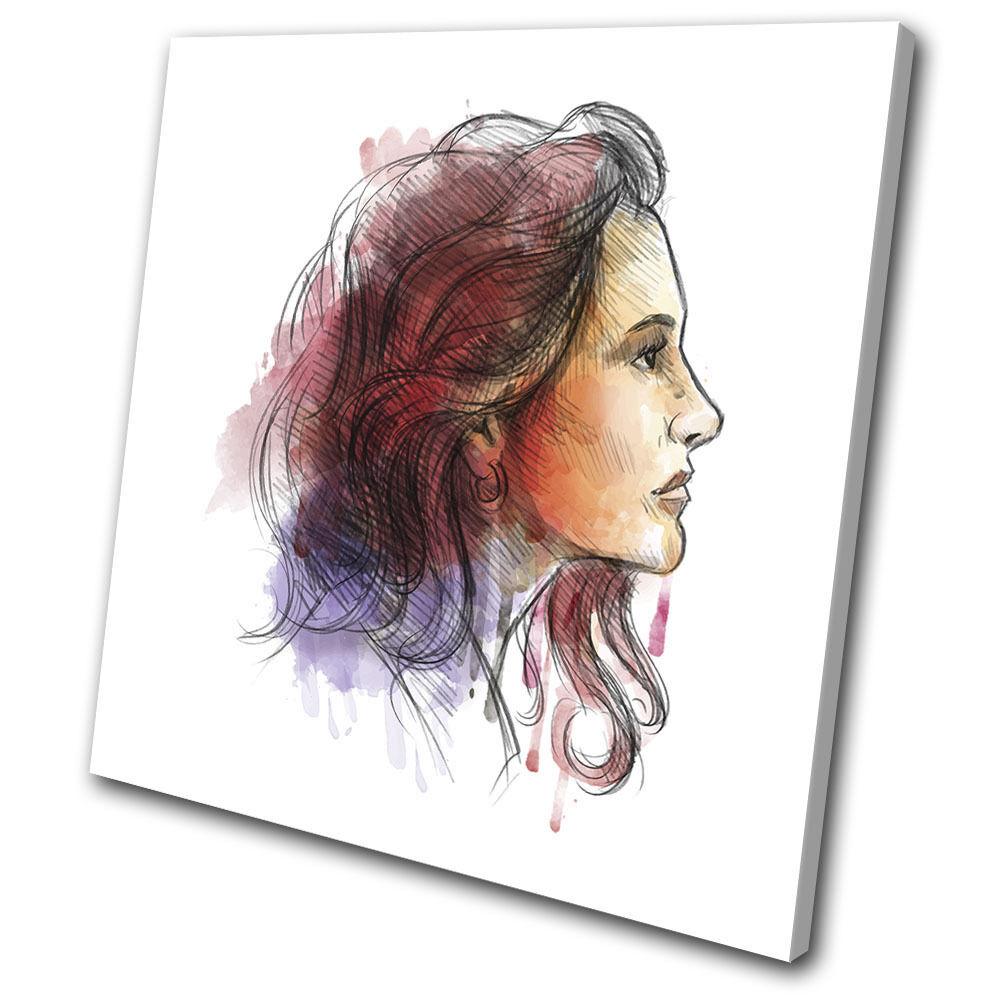 Watercolour Woman Illustration SINGLE TELA TELA TELA parete arte foto stampa 8d03ac