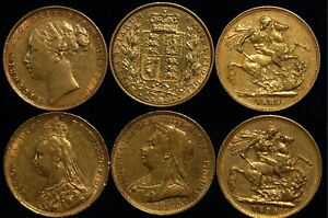 Sovereign 1866 -1900 Victoria Shield Back and George and Dragon Genuine (T33)