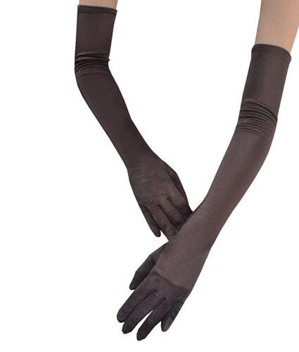 """22/"""" Long Black White Gloves Satin Finger Mittens Women/'s Evening Gloves-2 pairs"""
