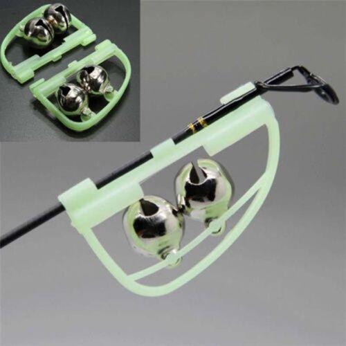 2X Glow fishing Rod Alert Bells Ring Fish Bite Alarm Night Fishing Accessory BSC