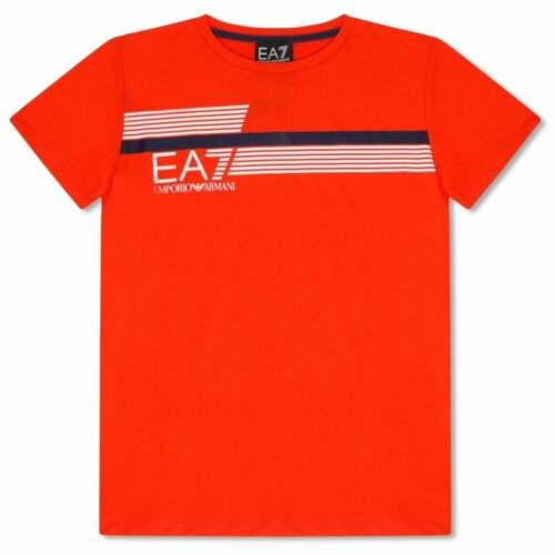 Colours: Grey, Orange EA7 Juniors Stripe Logo T-Shirt