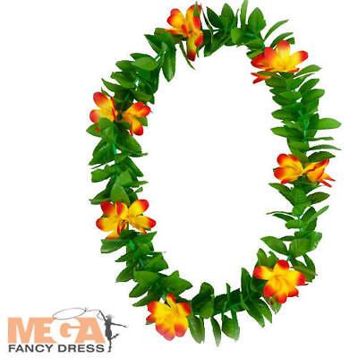 Abile Orange Foglia Lei Adulti Costume Hawaiano Hula Spiaggia Luau Costume Accessorio-mostra Il Titolo Originale Prezzo Pazzesco