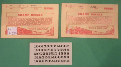 """Lot Of 2 Number Sets #X-27 Black 3//16"""" Champ Decals"""