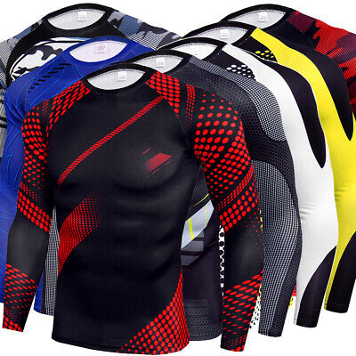 Herren Kompressions Langarm T-Shirt Sports Slim Funktionsshirt Training Kostume