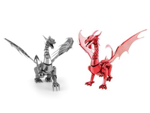 Set of 2 Fascinations ICONX SILVER /& RED DRAGON 3D Steel Metal Earth Model Kits