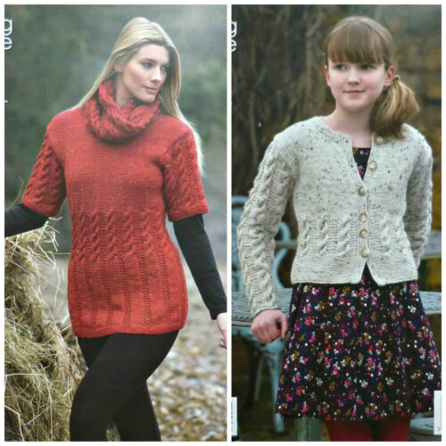 Knitting Pattern Femmes//Filles Long Câble Haut Snood /& Cable Cardigan Aran KC 3746