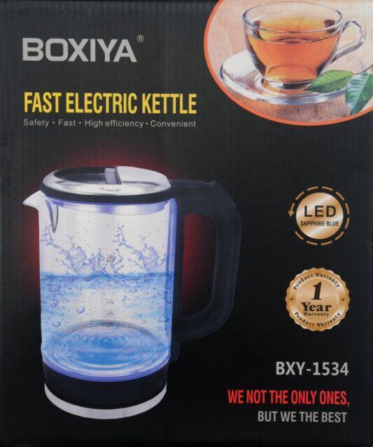 2200W Illuminated Glass Kettle Blue LED 360 Cordless 1.8L Electric Jug Portable