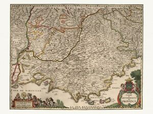 Old-Antique-Decorative-Map-of-Provence-France-de-Wit-ca-1682
