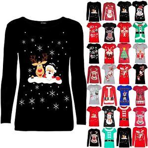 Girls-Reindeer-Kids-Santa-Wall-Christmas-Long-Sleeve-Snowflakes-Children-Top