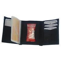 Wallet Genuine Leather Tri-fold Id Window Credit Cards Photo Black Billfold