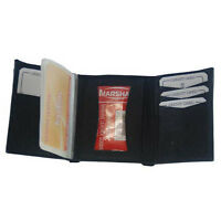 Wallet Genuine Leather Tri-fold Id Window Credit Cards Photo Black Billfold