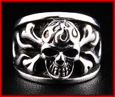 Silver Men Gothic Brass Flaming Tribal Skull Ring for Men Size 8, 9, 10, 11 BID