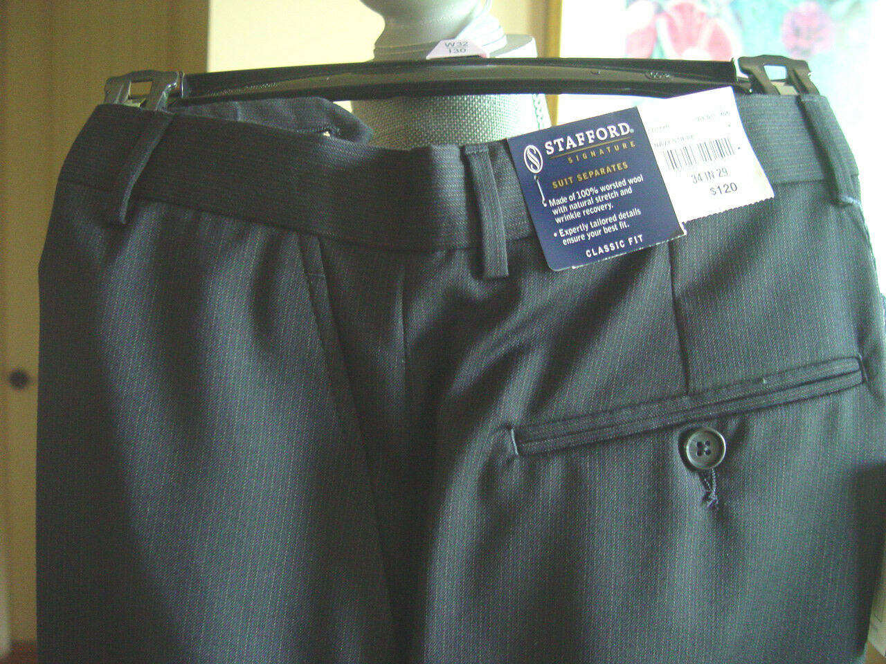 Stafford New Dress Pant Size 34x29 bluee Dress - Flat Front  Wool Blend