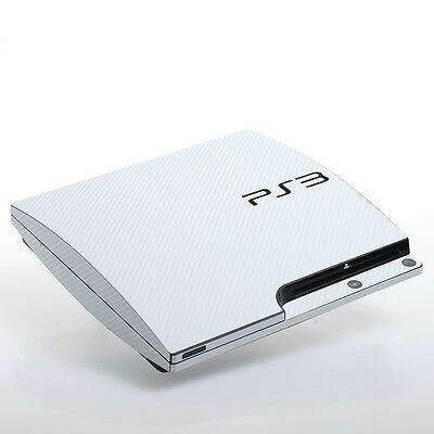 White Carbon PS3 slim Textured Skins -Full Body Wrap- decal sticker cover