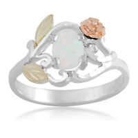 Black Hills Gold Opal Ring Womens Ladies .925 Silver 7x5 Mm Lab Created Size 5-9