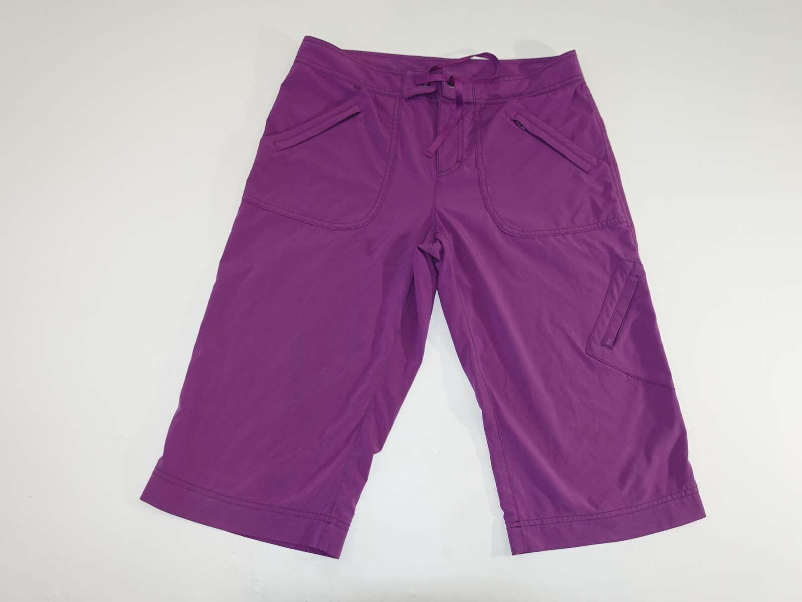 Athleta Damen Wandern Cargo Capri Sporthose Größe 8 Lila Flach Vorne