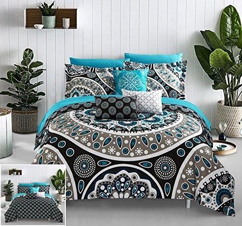Boho Embroiderot Comforter Set 10 Piece König Größe Plush Floral Bettding Pillows