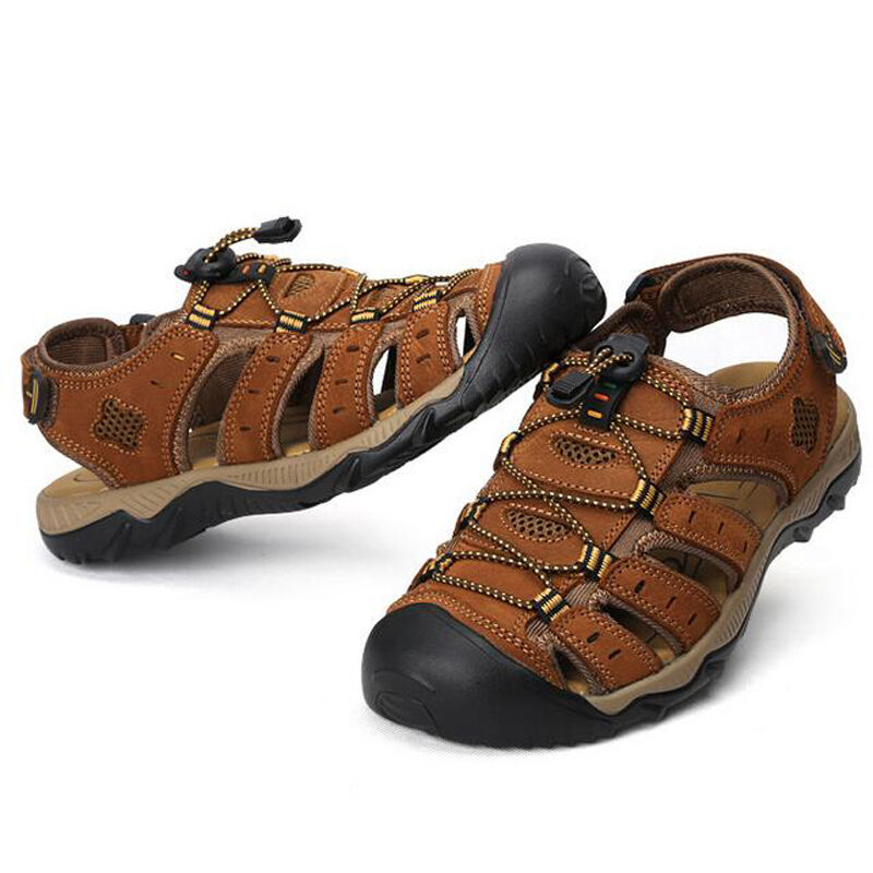 88b0ae4aa6f1 ... Mens Leather Closed Toe Walking Walking Walking Sports Casual Summer  Beach Sandals Shoes SiZE  335efb ...