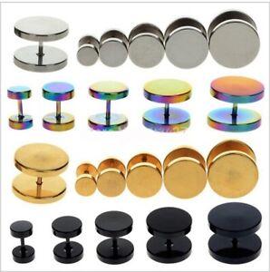 2-Pzi-Fakeplugs-Fake-Plug-in-acciaio-inox-Orecchini-a-bottone-tunnel-ORO-NERO-ARGENTO-COLORATO