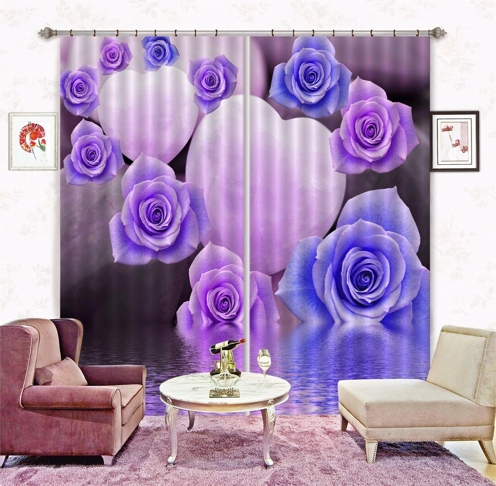 3D Flores Amor Blockout impresión de fotografías Cortina Cortinas De Tela Cortinas Ventana CA