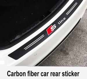 Audi-Carbon-Fiber-Sline-Car-Bumper-Sticker-Stylish-Boot-Emblem-Black-3D-101x12cm