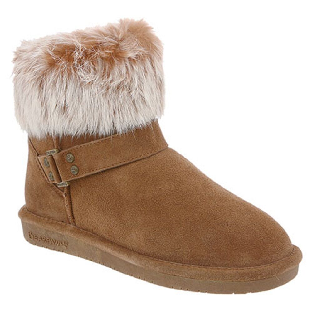 BEARPAW WOMEN'S TIGRIS IN HICKORY II ANKLE-HIGH SUEDE BOOTS IN SIZE 9 NIB