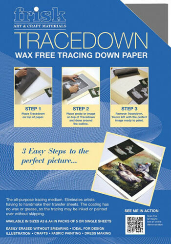 FRISK TRACEDOWN TRACING PAPER - A4 - GRAPHITE - PACK OF FIVE SHEETS