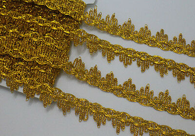 7 Yards Metallic Gold Venise Lace Trimming Width 2.3 cm For Sewing/Craft