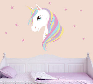 Image Is Loading Colourful Unicorn Amp Stars Wall Art Vinyl Stickers