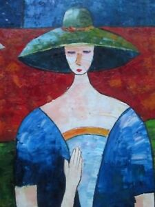 Image is loading LARGE-VINTAGE-PAINTING-LADY-WITH-HAT-OIL-ON- 03bcb97053e