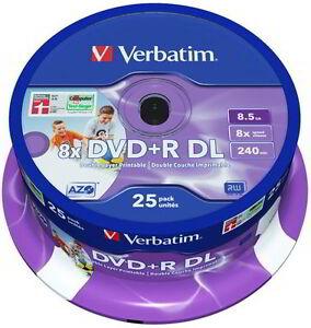 25 verbatim rohlinge dvd r double layer full printable 8. Black Bedroom Furniture Sets. Home Design Ideas