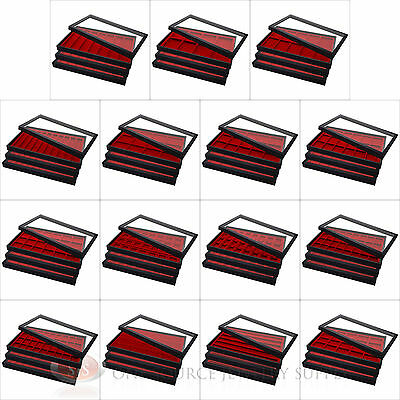 (3) Acrylic Removable Top Display Cases w/ (3) Red Compartment Drawer Inserts
