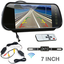 "7"" Screen Car Rear View Backup Mirror Monitor+Wireless Reverse IR Camera Kit 12V"