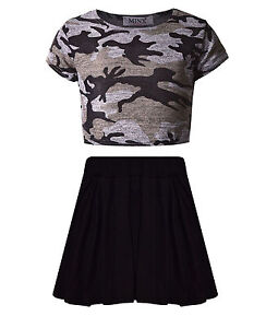 Girls Camouflage Crop Top & Black Skater Skirt Set Kids ...
