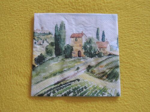 5 Servietten TUSCANY Toskana gemalt Serviettentechnik Motivservietten Landschaft