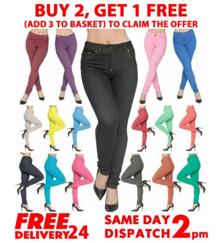 Femmes Coupe Skinny Jeggings Pantalon Femme Stretch Taille Haute Denim Pantalon 8-22