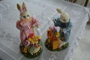 VTG-Boy-Girl-Easter-Bunny-Rabbit-Spring-Statue-Figurines-Flower-Garden-Chick-Set