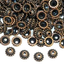 MXL3162p Antiqued Copper 7mm Dotted Round w Twisted Rope Metal Bead Caps 200/pkg