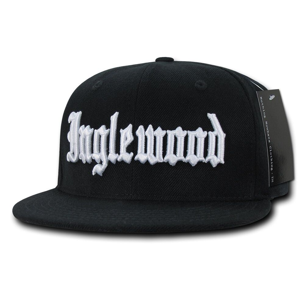 a2a97a60785 Black Inglewood Rap Gangster Embroidered Hip Hop Flat Bill Snapback ...