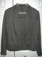Womens Gray LANE BRYANT Stretch Zipperfront Knit Windbreaker Jacket 18