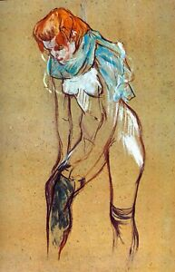 Stockings by Henri de Toulouse Lautrec Giclee Fine Art Print Repro on Canvas