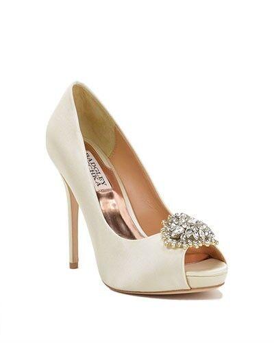 Badgley Mischka Ivory Satin Open Toe Pump Wedding Dimensione 6 scarpe