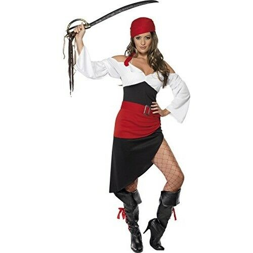 Smiffys Adult Women/'s Sassy Pirate Wench Costume Top Belt and Headscarf Skirt
