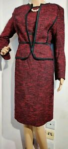 NEW-HOBBS-FITTED-DRESS-SUIT-SIZE-UK-10-US-6-RED-BLACK-60-COTTON-POLYESTER-VISCO