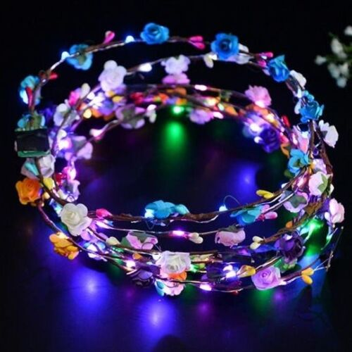 Flashing LED Flower Wreath Headbands Greek Festival Party Hat Pack of 25